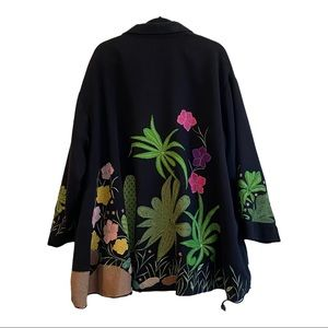 LIKE NEW ANAGE embroidered flower cactus cape coat
